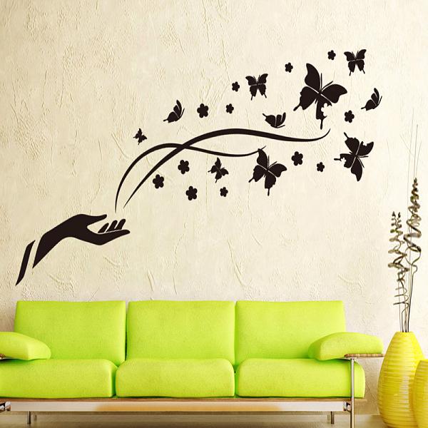 наклейки на стену из бабочек своими руками